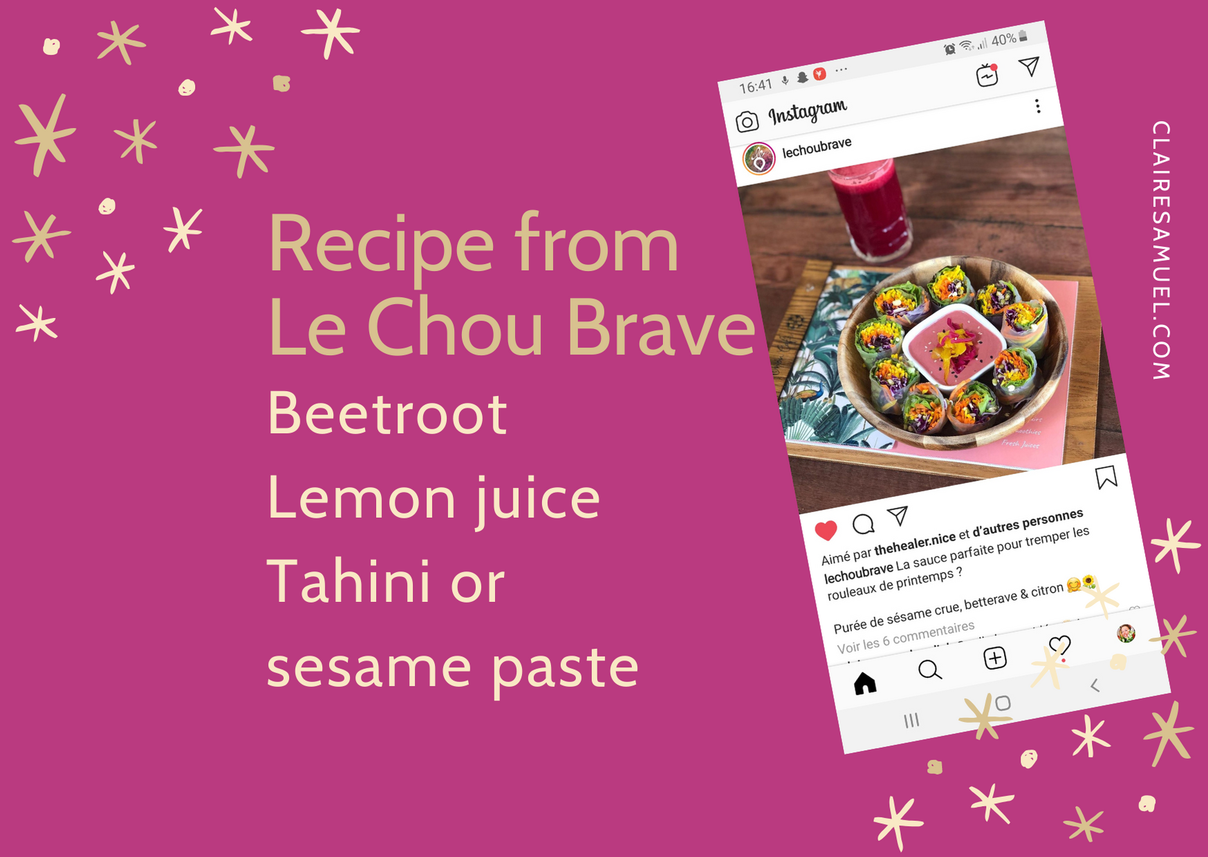 I test a #recipe with #beetroot #tahini and lemon by Le Chou Brave