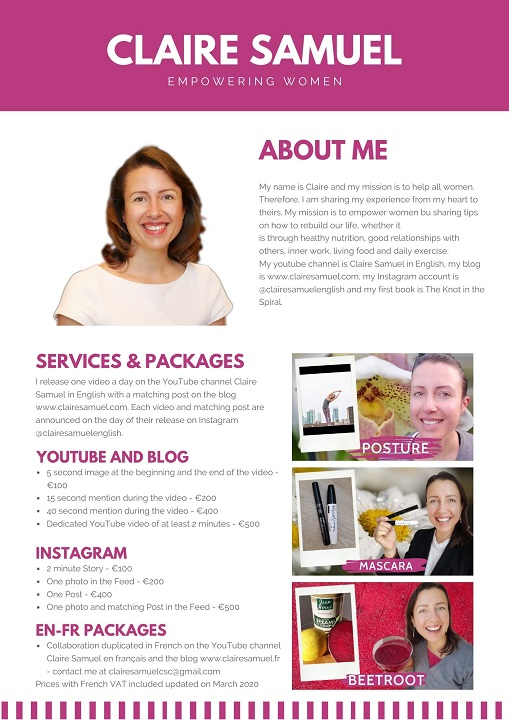 media kit for collaborations on the claire samuel website