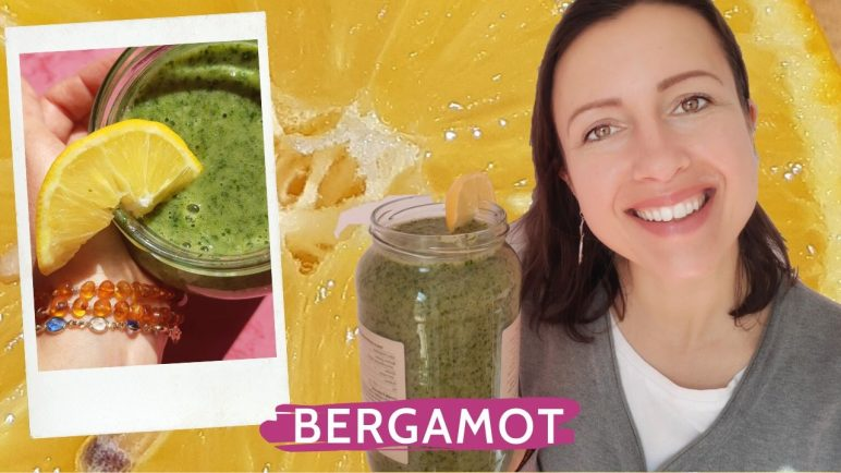 Bergamot citrus smoothie with celery leaves ginger and bananas to be healthy and happy